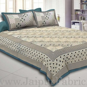 Light Green  Border  With Multi Checkered Pattern Fine Cotton Double Bedsheet With Two Pillow Cover