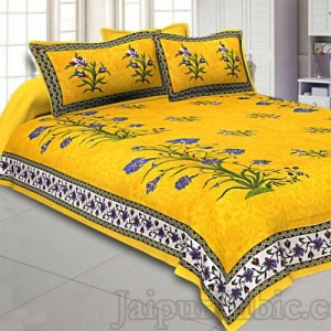 Yellow Border Tree Print Yellow Base Cotton Double  Bedsheet