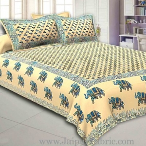Light Cream Base Satrangi Gold Print With Elephant Super Fine Cotton Double Bedsheet