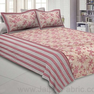 Double Bedsheet Floral Dusty Brown With White Sparrow
