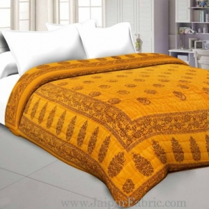 Yellow Border with Yellow Base  Long Boota Print Both Side Printed Cotton Double Quilt