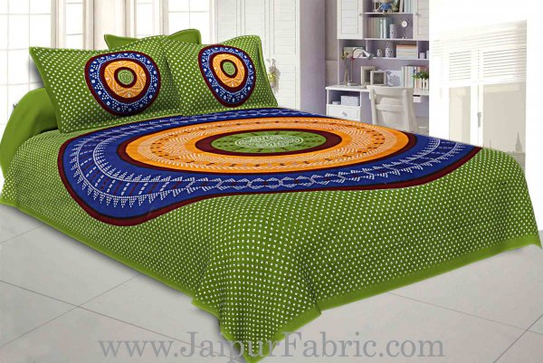 Double Bedsheet Green Base With Round Shape Bandhej Print