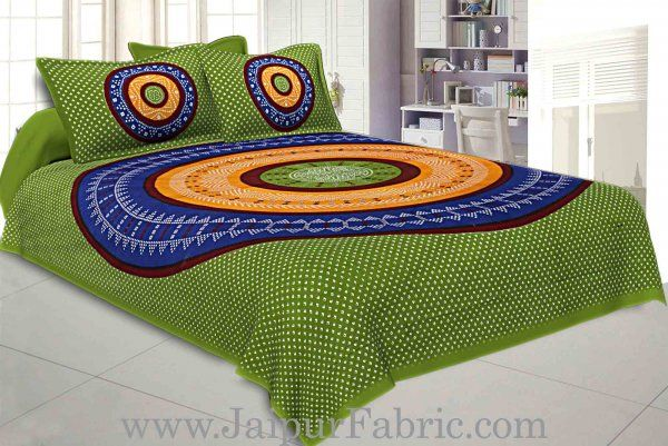 Wholesale Double Bedsheet Green Base With Round Shape Bandhej Print