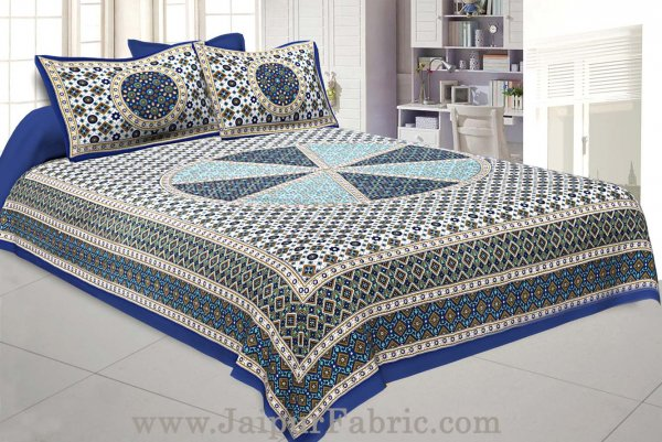 Sanganeri Double Bedsheet in Royal Blue shade