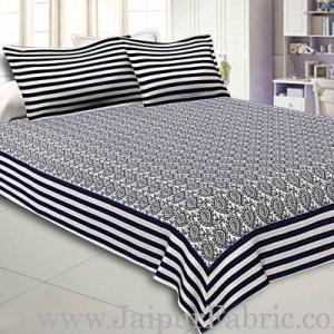 Double Bedsheet White And Dark Blue  Border  Fine Cotton  Booti Print