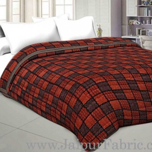 Double Bed Quilt  Big Check & Dabu Print Cotton (Multicolour)