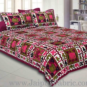 Mahroon Border Mahroon  Base Check With Hathi And Paan Print Coton Double Bedsheet