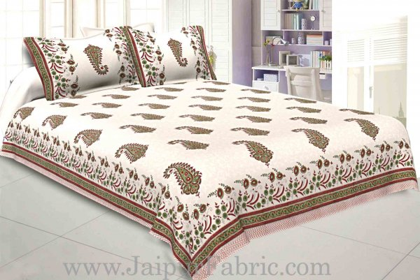 Double Bed Sheet White Base With Kadi Print Red Rajasthani Buta Hand Block Print Super Fine  Cotton