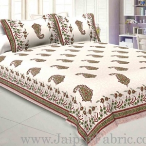 a2fba708d8 Double Bed Sheet White Base With Kadi Print Red Rajasthani Buta Hand Block  Print Super Fine