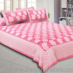 Pink Border With Zig-Zig Lining Twin Kerry Pattern Cotton Double Bed Sheet
