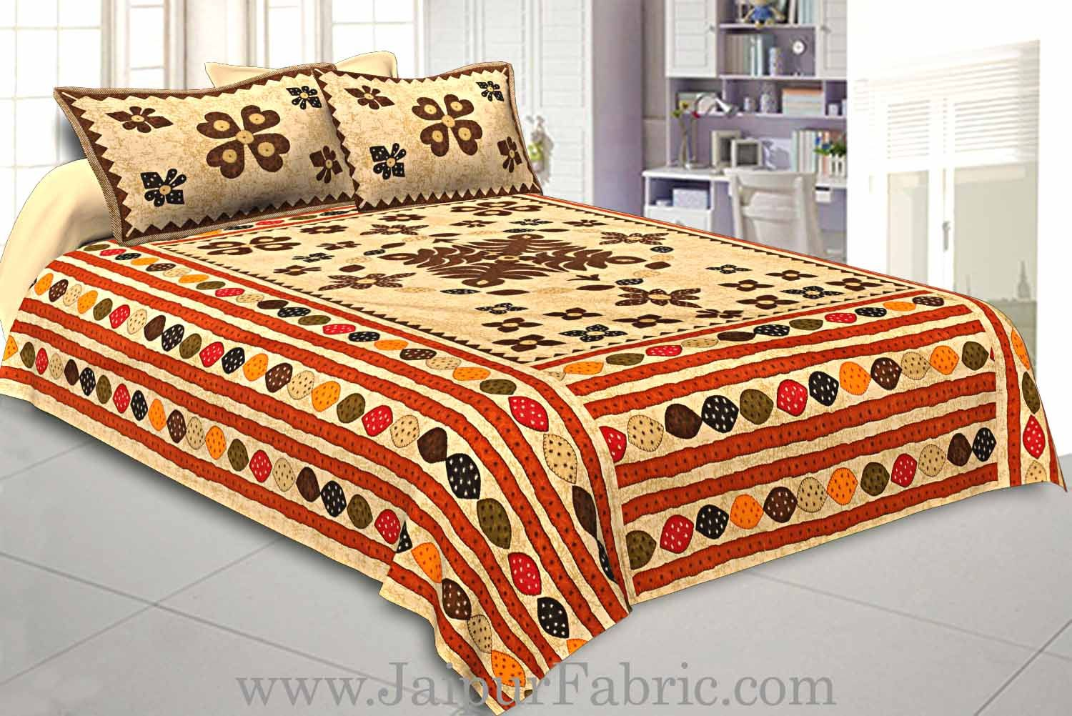 Double Bedsheet Cream Base Barmeri Rangoli