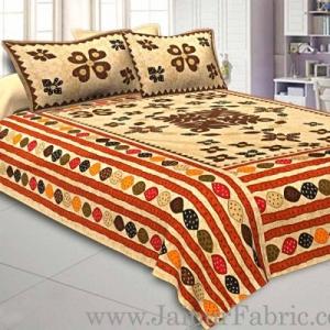 Double Bedsheet Cream Base Barmeri Rangoli