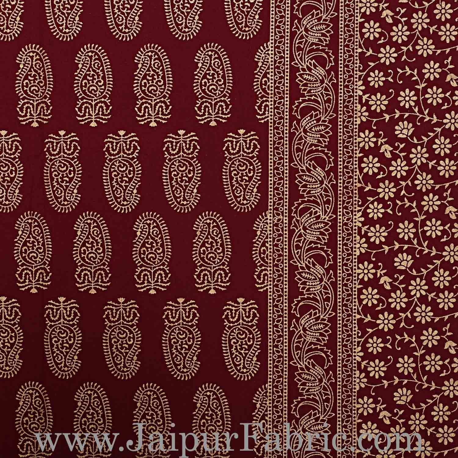 Double Bed Sheet With Shining Gold Print Maroon Base Gold Kerry Pattern Super Fine Cotton