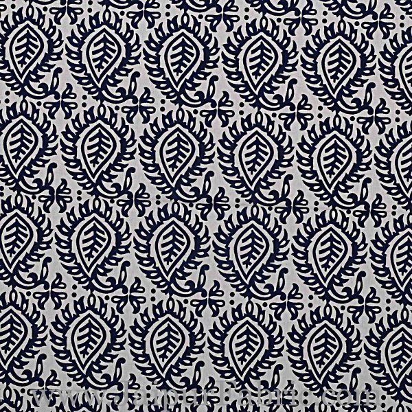 Double Bedsheet White And Dark Blue  Border  Fine Cotton  Booti Print
