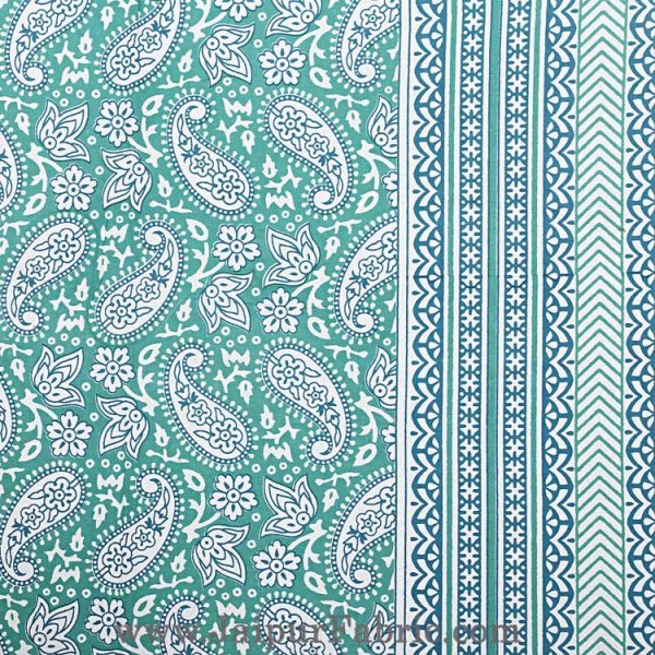 Paisley Double Bedsheet Green border in super fine cotton with 2 Pillow Covers