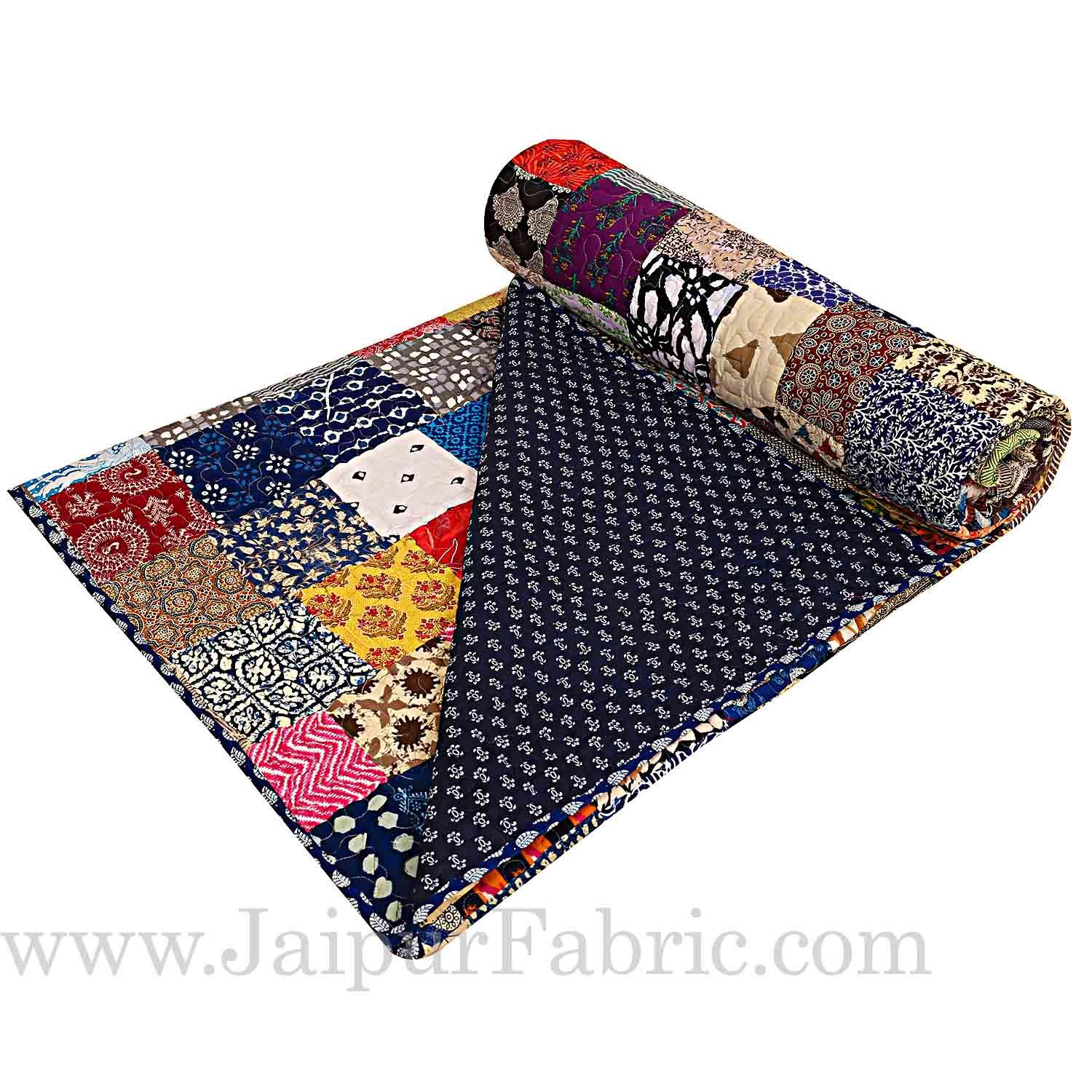 Patchwork AC Quilt/Blanket Soft Designer Double Bed - Multicolor (Multi)