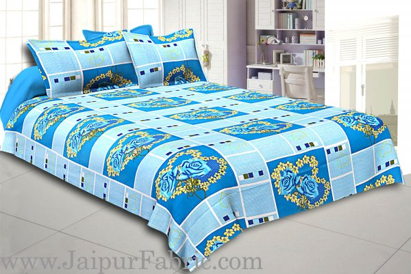 Blue Stripes Floral Print Double Bed Sheet