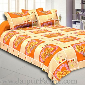 Orange Stripes Floral Print Double Bed Sheet