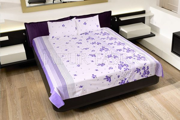 Purple and Black Stripes Floral Print Cotton Double Bed Sheet