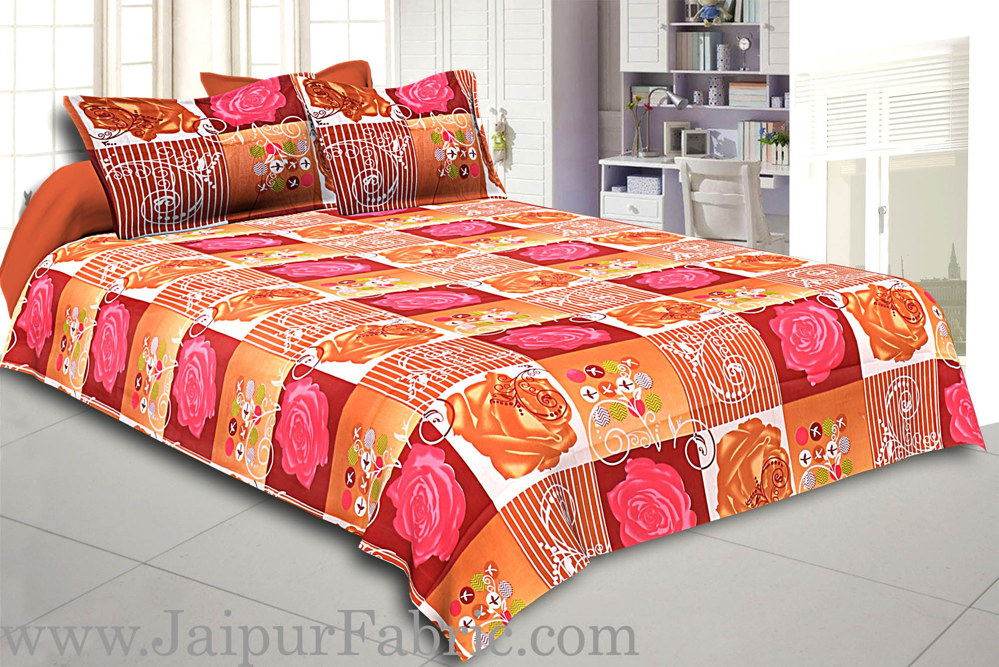 Stone Pink Floral Print Double Bed Sheet