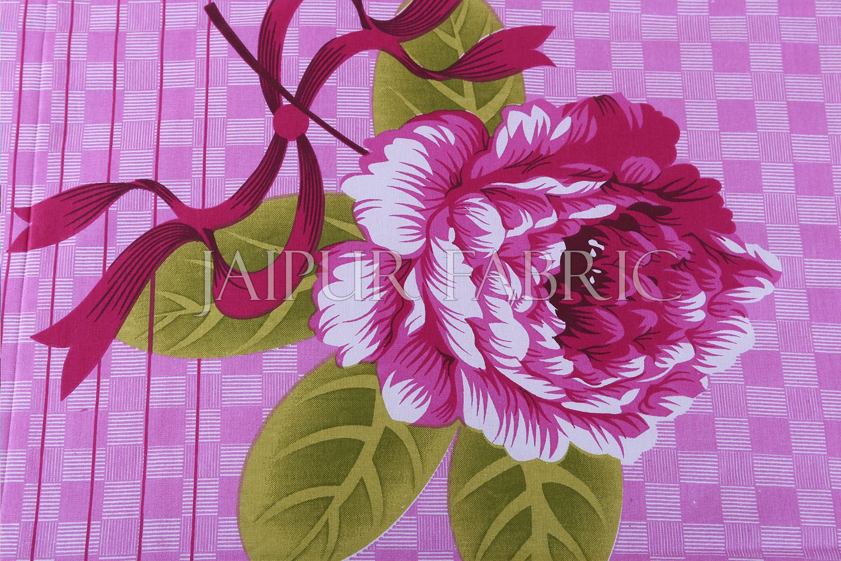 Pink Square Base with Flower Print Cotton Double Bed Sheet