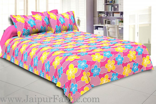 Pink Base Yellow and Blue Flower Double Bed Sheet