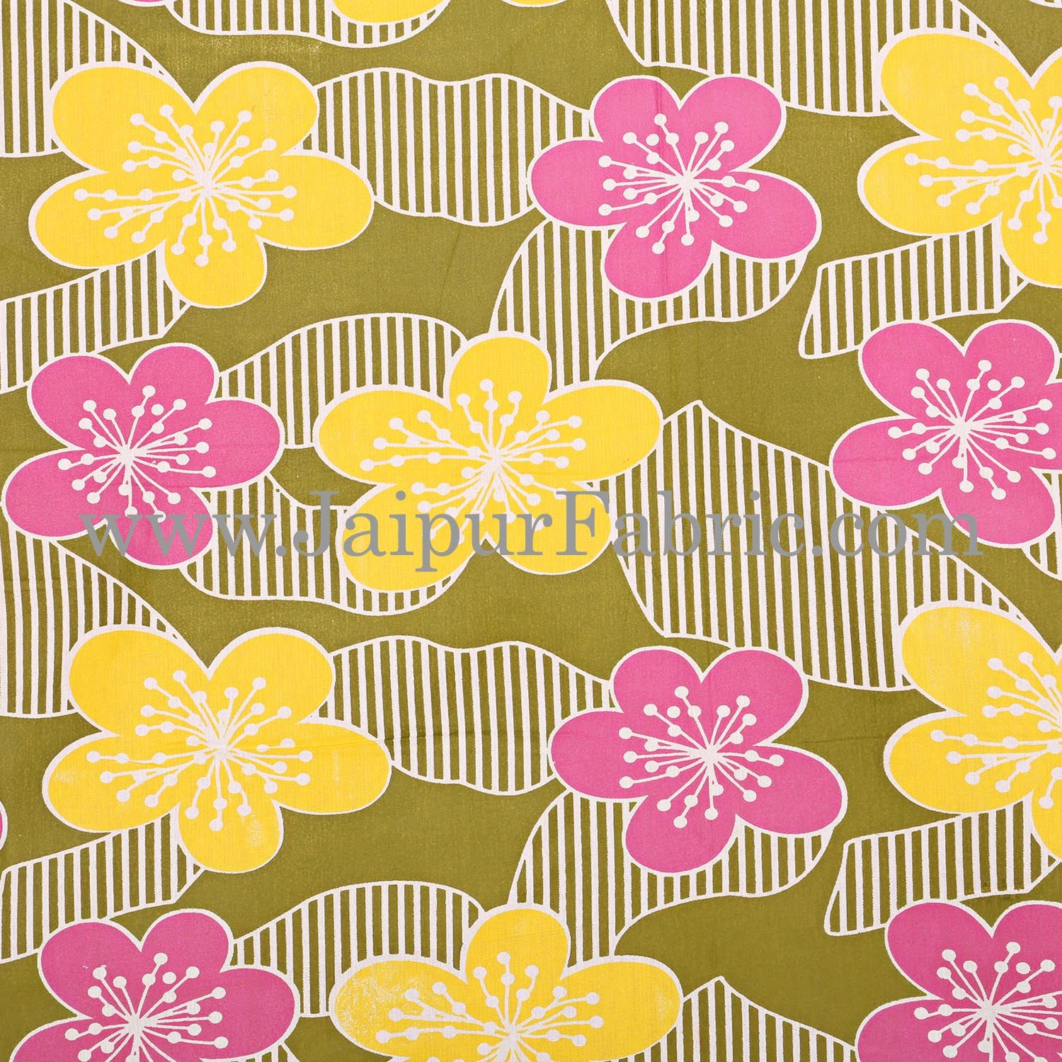 Green Base Yellow and Pink Flower Double Bed Sheet