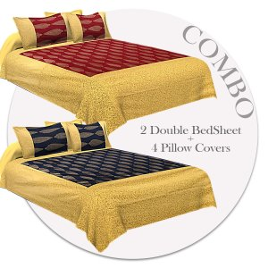 COMBO356 Beautiful Patola Bedsheet + 4 Pillow Cover