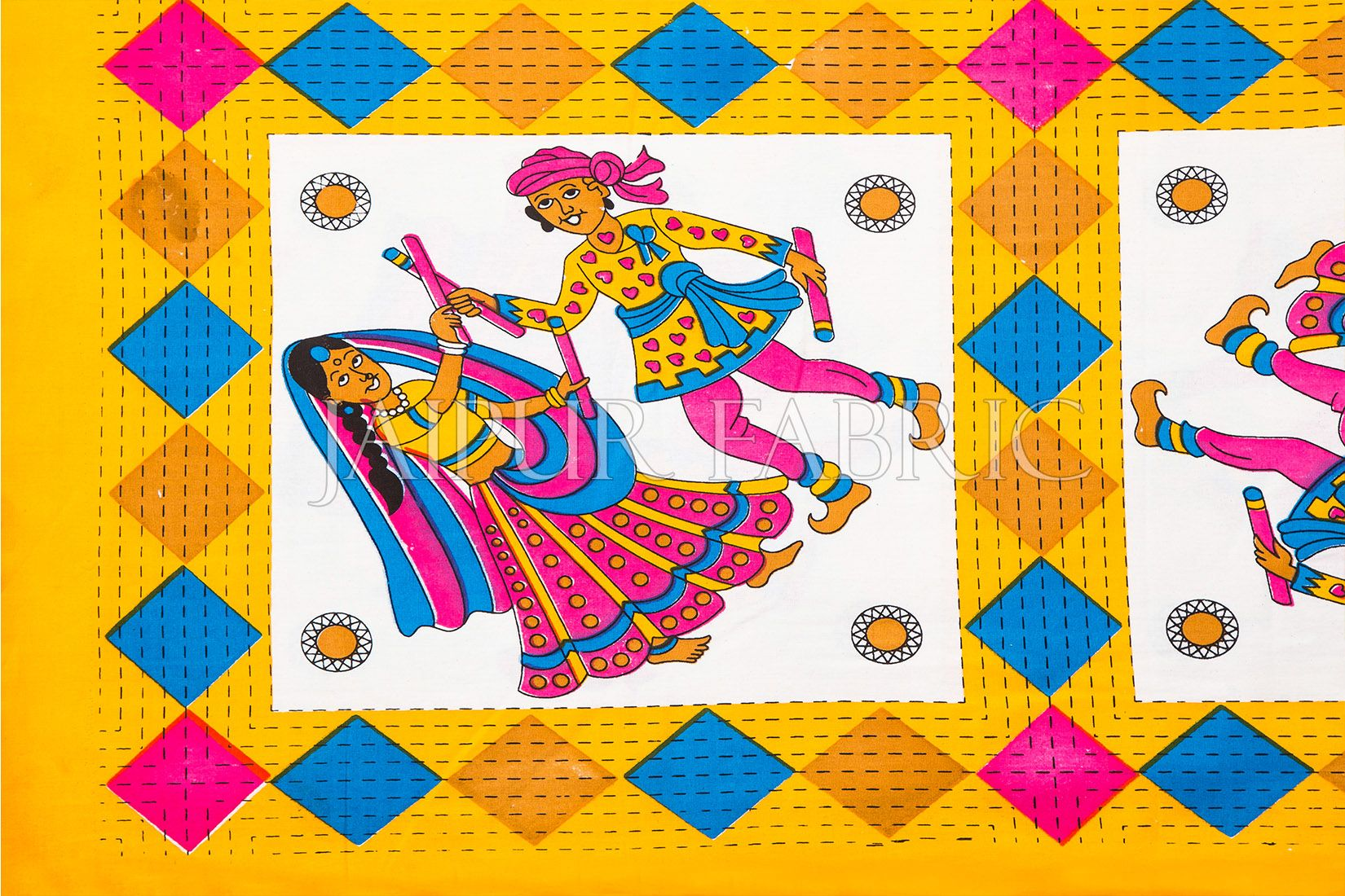 Yellow Base Jaipuri Folk Dance Cotton Double Bed Sheet