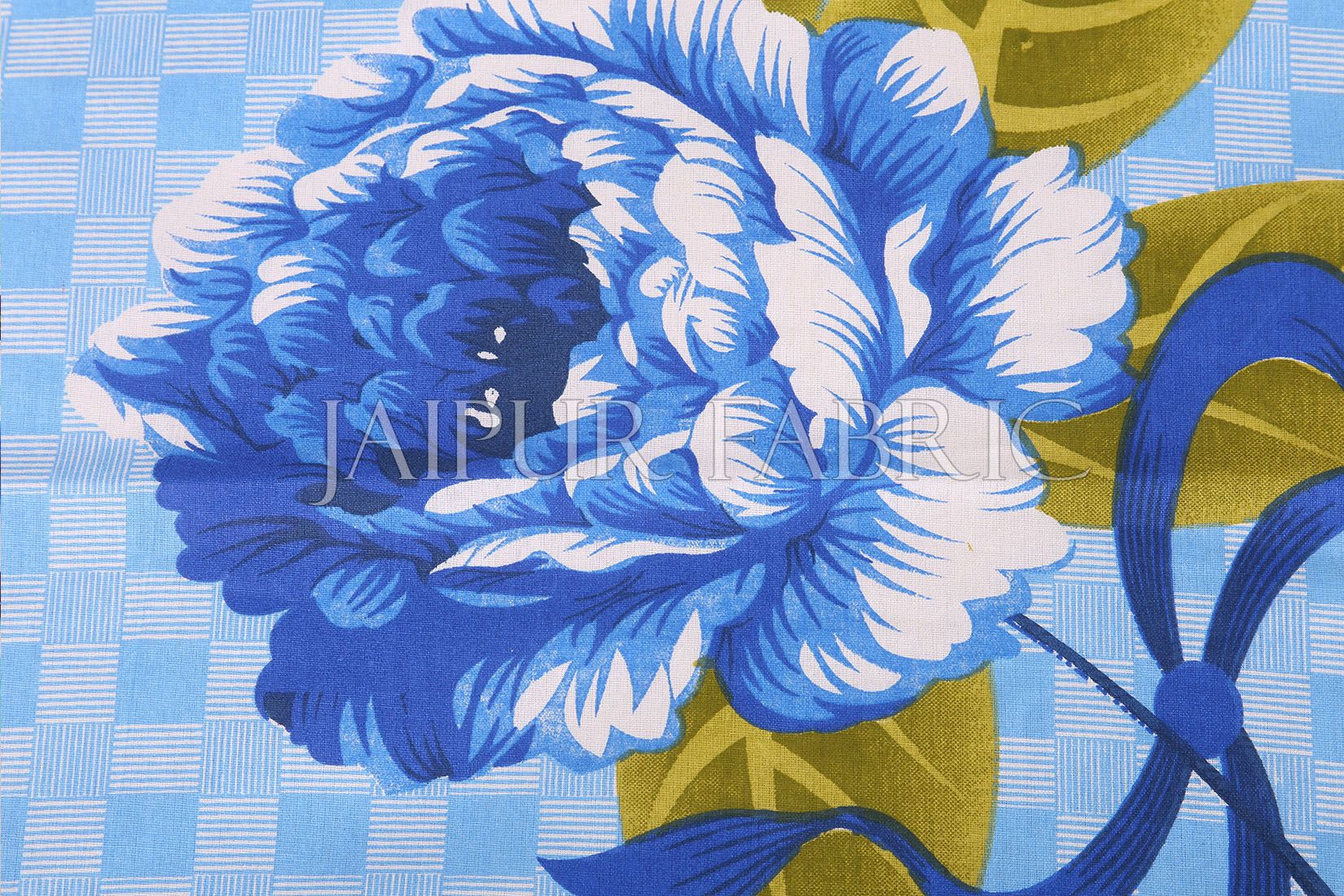 Blue Square Base with Flower Print Cotton Double Bed Sheet