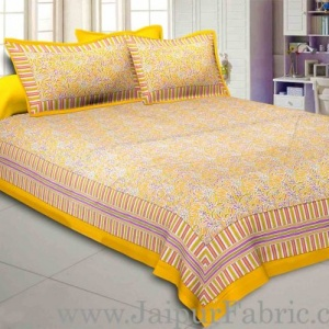 Honey Yellow Abstract Double Bedsheet