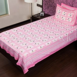 Pink Color White Base Floral Print  Single Bed Sheet