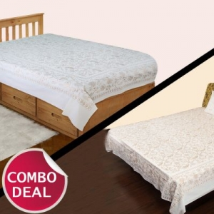 COMBO13 - Set of Double Bed Sheet and Single Bed Sheet