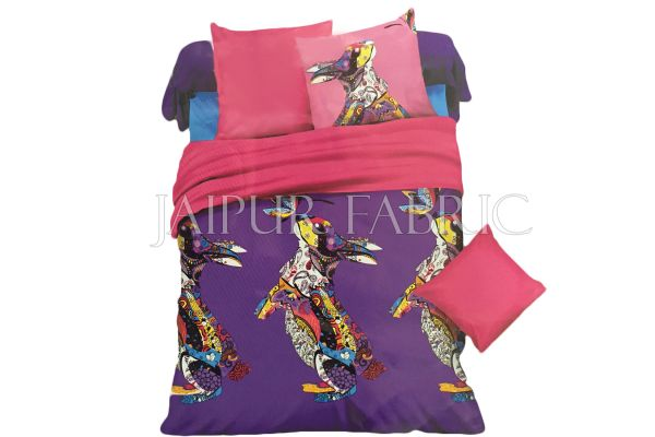 Purple Base Multi Color Rabbit Print Single Bed Sheet