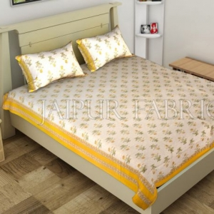 Yellow Border Trellis Base Floral Printed Cotton Single Bed Sheet