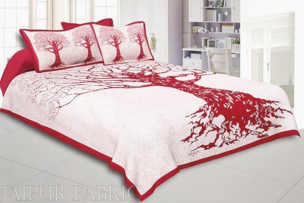 Red Border Light Cream base Big Tree Pattern  Super Fine Cotton Double Bed Sheet