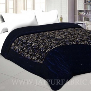 Double Bed  Velvet  Quilt Multi Floral Design print