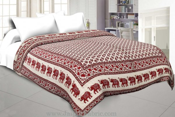 Maroon Border Cream Base With Elephant And Small Booty  Print Both Side  Printed Cotton Double Quilt