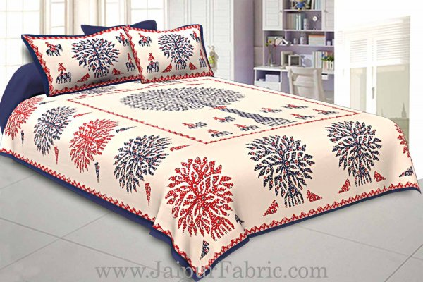 Double Bedsheet Blue Printed Big Tree With Two Pillow Cover