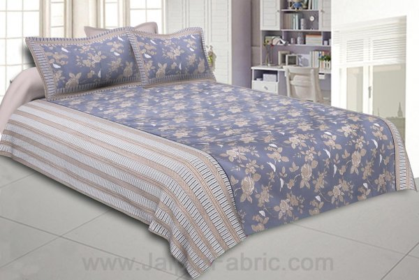 Double Bedsheet Floral Dusty Lava Grey With White Sparrow