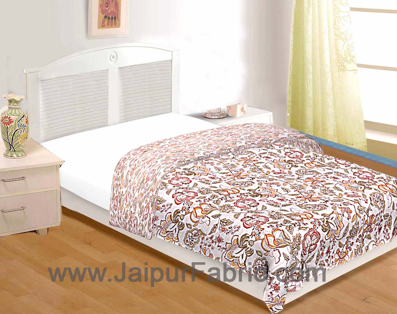 Reversible mulmul Single bed Reversible mulmul Dohar with pastel hand block print