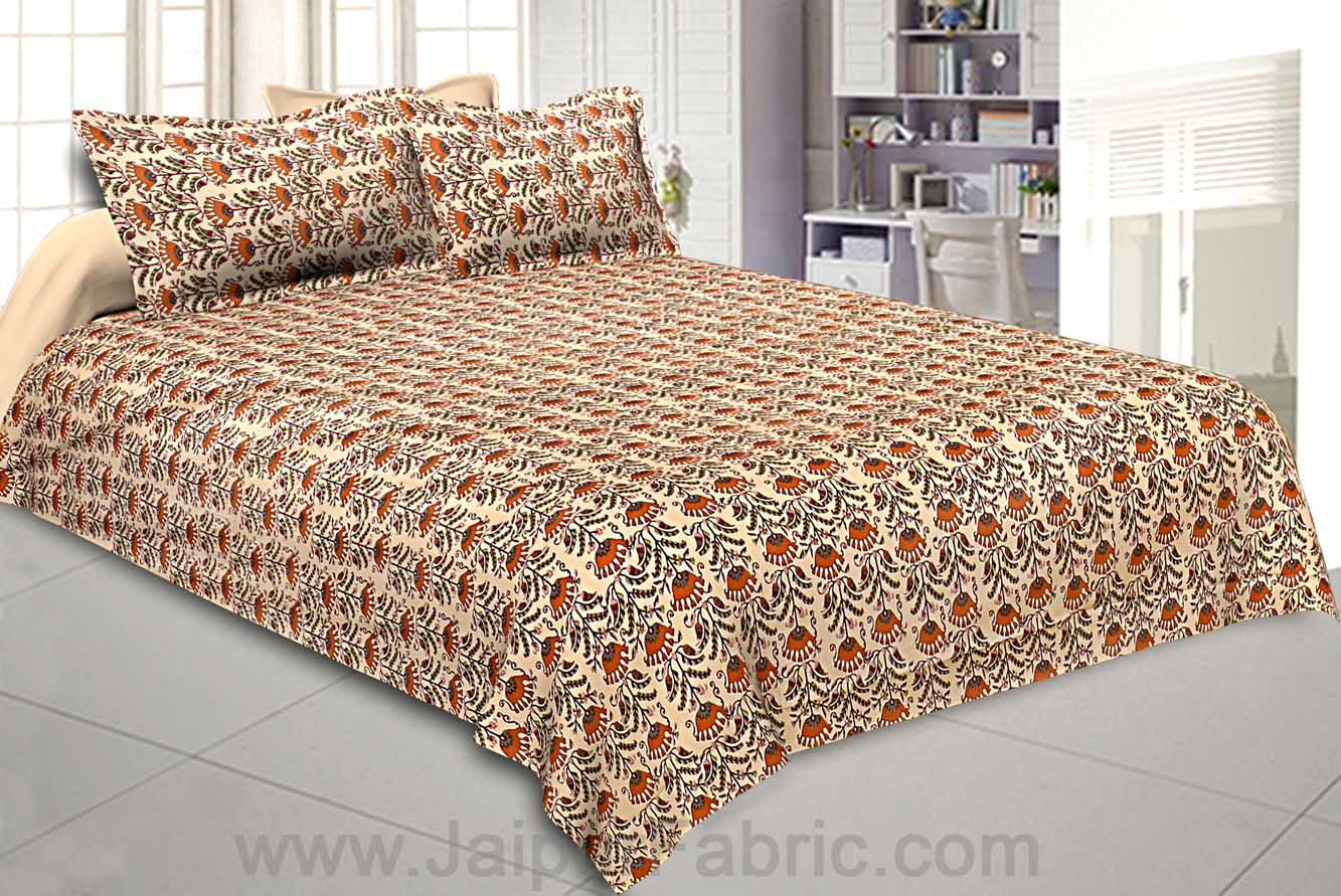 Double Bedsheet Glowing Orange Flowers Print