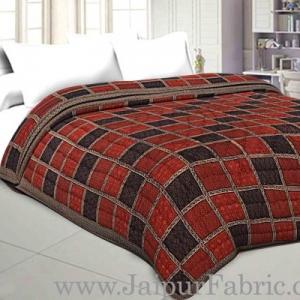 Double Bed Quilt Check & Dabu Print Cotton (Multicolour)