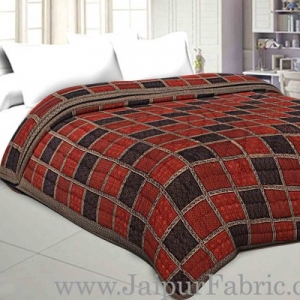 Double Bed Quilt Check & Dabu Print Cotton (Multicolour)