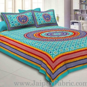Sea Green Border Bandhej and Rangoli Print Cotton Double Bed Sheet With Two Pillow Cover