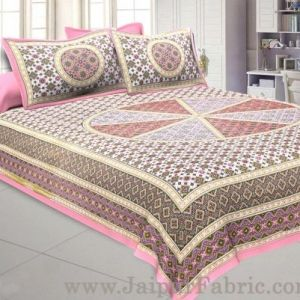 Wholesale Sanganeri Double Bedsheet in Pretty Pink shade taxable