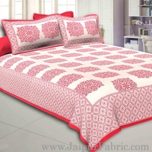 Light Red Border With big Boota Super fine cotton Double bedsheet