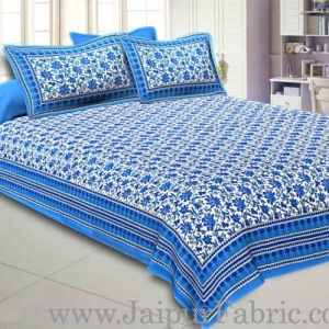 Double Bedsheet Firozi Border Bell Print With Two Pillow Cover