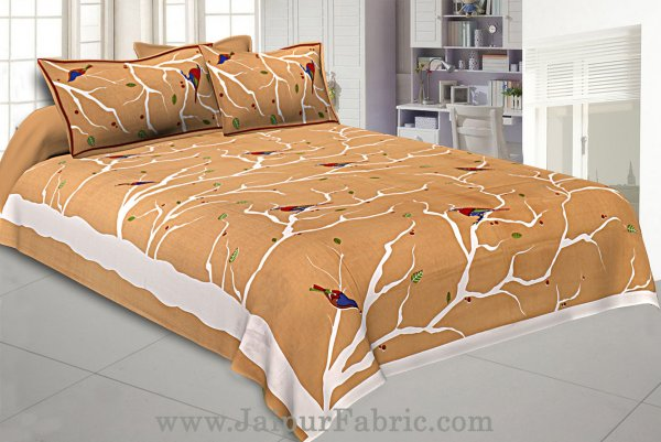 Indian Sparrow Double Bedsheet Brown Color With 2 Pillow covers