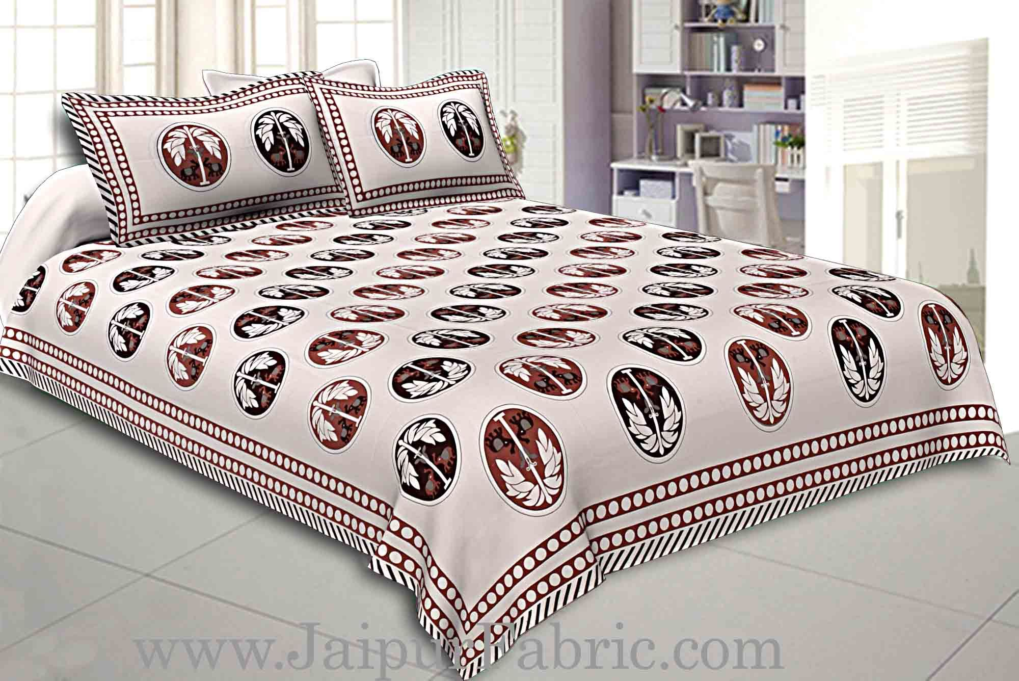 Double Bedsheet Grey  Border  Fine Cotton  Dark Tree Print